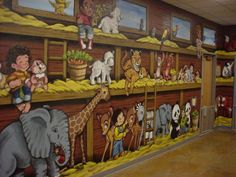 noahs ark murals | This entryway became Noah's Ark- as young kids & animals sail into ...