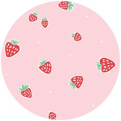 """Emily Isabella for Birch Organic Fabrics, Everyday Party, Strawberries Pink   Fabric is sold by the 1/2 Yard. For example, if you would like to purchase 1 Yard, you would enter 2 in the Qty. box at Checkout. Yardage is cut in one continuous piece.  Examples:  1/2 yard = 1 1 yard = 2 1 1/2 yards = 3 2 yards = 4  1/2 Yard Measures 18"""" x 44/45""""   Fiber Content: 100% Organic Cotton  Hover over image for a larger, better view."""