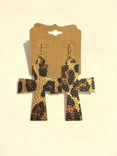 Excited to share this item from my shop: Leopard print cross earrings double sided faux leather fabric religious religion boho hippie unique stylish big long statement jewelry fun Diy Leather Earrings, Leather Jewelry, Cross Earrings, Big Earrings, Diy Crafts Jewelry, Faux Leather Fabric, Stainless Steel Earrings, Ear Rings, Diamond Design