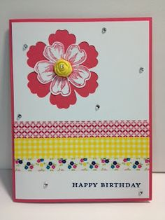 Mixed Bunch, Morning Meadow & Washi Tape Birthday Card Stampin' Up! Rubber Stamping Handmade Cards Birthday card