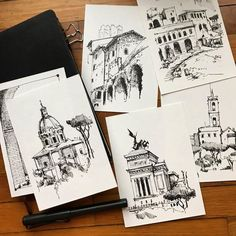 Vignettes from Trajans Market last week. Click the image for more art by Jerome Tryon. Architecture Drawing Plan, Architecture Drawing Sketchbooks, Watercolor Architecture, Architecture Collage, Architecture Wallpaper, Travel Sketchbook, Art Sketchbook, Cool Art Drawings, Art Drawings Sketches