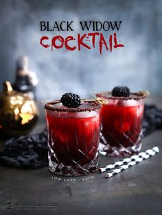 Low-Carb Black Widow Cocktail for Halloween (keto, sugar-free)