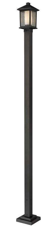 Z-Lite 538PHM-536P Mesa 1 Light Outdoor Post Light with Clear Beveled and Matte Oil Rubbed Bronze Outdoor Lighting Post Lights Post Lights