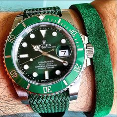 Rolex Submariner with green Perlon strap