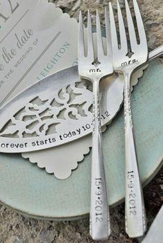 WEDDING Cake forks with Forever Starts Today Personalized Vintage Wedding Cake Server Wedding Wishes, Wedding Bells, Wedding Gifts, Wedding Stuff, Wedding Things, Mr And Mrs Wedding, Our Wedding, Dream Wedding, Wedding Cake Server