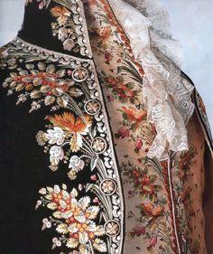 Casaca y chalco masculino con bordados florales