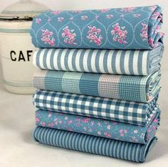 Shabby Chic 6 #fatquarter #fabric bundle mid blue pink rosebuds 100% cotton $29.50 by fabricsandfrills #quiltfabric #quilting #sewing #sewcialists #thedailyseam #ilovefabric #beautifulfabric #fabricaddict #fabriclust #etsyhunter