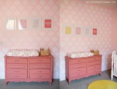 A DIY stenciled pink nursery using the Cascade Allover Stencil from Cutting Edge Stencils. http://www.cuttingedgestencils.com/cascade-allover-stencil-pattern.html
