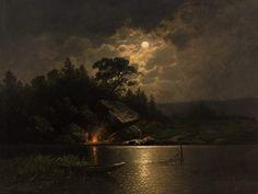 Johann Jungblut (1860-1912), Feu de Camp au Clair de Lune - 1890