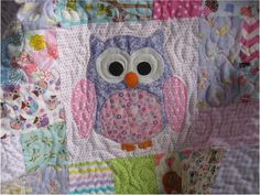 ready to ship Handmade pink and purple owl quilt, baby girl scrappy quilt, girls blanket, owl nursery decor, crib bedding, Modern baby quilt...