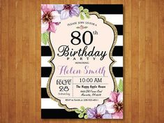 80th Birthday Invitation For Women Purple By Happyappleprinting Or Save The Date