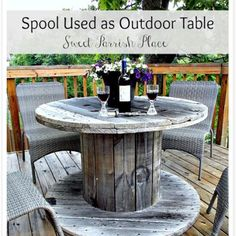 Sharing our new wooden spool turned patio table today on the blog- and sharing…