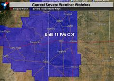 355PM: Severe Thunderstorm Watch until 11 PM CDT for the western Texas Panhandle. Today doesn't look overly impressive for severe weather but we'll likely have some storms capable of producing golfball size hail and damaging wind gusts to 70 MPH through the evening hours. We'll also have to watch for some flooding issues since storms will be slow movers.  Read the whole article at http://texasstormchasers.com/?p=38081 - David Reimer