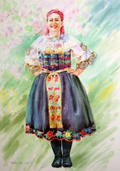 Woman in Slovak folk costume , cm, watercolor Folk Costume, Costumes, Watercolor Artists, Fabric Painting, Harajuku, Nostalgia, Symbols, Romantic, Woman
