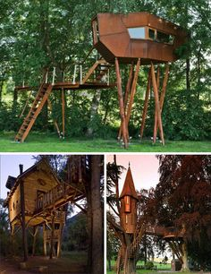 Sky High, But Grounded: 16 Incredible Tree Houses | WebUrbanist → Baumraum created the first featured structure as a playful guest room of an Austrian house. Most of the weight is borne by the surrounding trees, but the use of heavy stilts turns the structure into something much larger. Cedar Spire, a castle-like creation in Scotland, is a gorgeous example of fully integrating a fun structure around trees... The main house is held aloft by several tree trunks...