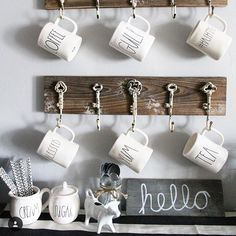 Brittany @ourblessedlittlenest is my feature choice for our Rae Dunn #friyaydecorday theme! I just love this little coffee station and the wall hooks she used to display them! Thanks everyone who played along! Be sure to check out @virag_partyof5 @big_city_farmgirl & @jbtowns to see their features! ☕️