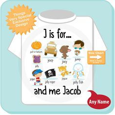 Boy's Personalized J is for Shirt or Onesie by ThingsVerySpecial
