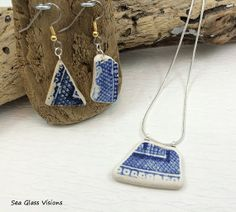 Antique English Sea Pottery Necklace & Earring by SeaGlassVisions, $30.00