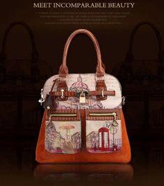 Luxury Waterproof Snake Pattern Leather Handbags Vintage Oil Painting | sariasknitncrochet - Bags & Purses on ArtFire
