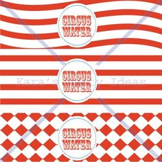 Circus Party Printable Collection Water bottle labels