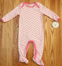 Burt's Bees Baby Girl Lightweight Footed Sleeper/Coveralls~White with Pink Bees~ #BurtsBees #OnePiece #Babygirl