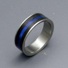 Fiances Wedding Band. Police Thin Blue Line.