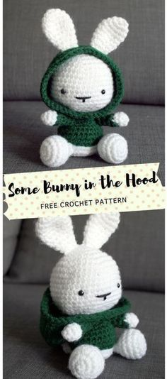 There's some bunny in the hood! I hope you like living in your hoodies as much as I do. Adding to my amigurumi bunny family, meet this new little cutie who is the newest free pattern on the blog. Diy Crafts Crochet, Crochet Toys, Free Crochet, Crochet Easter, Crochet Slippers, Crochet Projects, Teddy Bear Knitting Pattern, Knitting Patterns, Crochet Patterns
