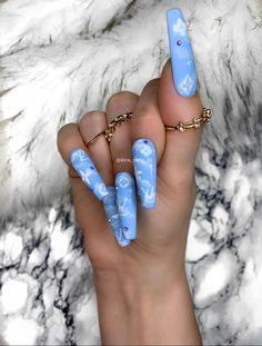 Fake Nails Matt Cloud Effect by Kira B Press on nails False Blue Acrylic Nails, Summer Acrylic Nails, Acrylic Nail Designs, Dope Nail Designs, Summer Nails, Glue On Nails, Glitter Nails, Exotic Nails, Coffin Nails Long