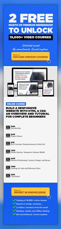 Build a Responsive Website with HTML & CSS: An Overview and Tutorial for Complete Beginners Technology, Web Development, HTML, CSS, Mobile Design, HTML5, Coding, Responsive Design #onlinecourses #skillstraining #onlinebusinesspackaging    Learn the fundamentals of coding responsive web pages and sites by building your own. In this class, we will go through the process of planning out, mocking up...