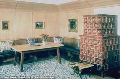 A guest room in the Berghof (formerly known as Haus Wachenfeld), Adolf Hitler's estate in Berchtesgaden, Upper Bavaria, Germany. On the right is a Kachelofen, or ceramic-tiled stove, used for heat