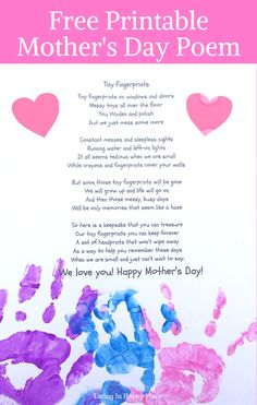 mom day Handmade Mothers Day gifts from kids are the ones mom will treasure forever! Free printable Tiny Fingerprints poem and kids can add their handprints at the bottom! mothers day poems for kids hand prints fingerprints via HappyPlaceMom Happy Mothers Day Poem, Mom Poems, Mother Poems, Mothers Day Crafts For Kids, Mothers Day Cards, Mother Day Gifts, Poem Quotes, Birthday Present Diy, Birthday Presents For Mom