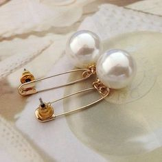 Safety Pin Pearl Drop Earrings