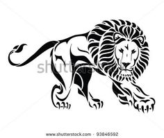 lion tattoo. Mane would look better if it's flared and curved more.