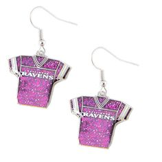 "Baltimore Ravens Women's Glitter Earrings Shaped Like A Jersey 3/4"" Charm Click The Green ""Buy Now"" Button To Get Yours Now! Shop with confidence!100% Money Bac"