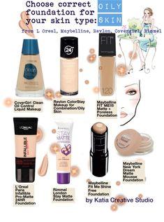 Choose correct foundation for oily skin, Revlon, Rimmel, Covergirl, Maybelline, L Oreal by Katia Creative Studio