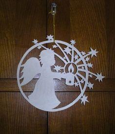 Ange de Noel Christmas Stencils, Christmas Paper Crafts, Noel Christmas, Handmade Christmas, Christmas Ornaments, Christmas Ornament Template, Christmas Templates, Felt Decorations, Christmas Decorations
