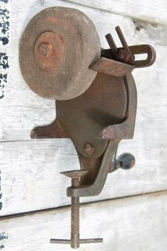 Old Hand Crank Farm Work Bench Grinding Wheel For Old