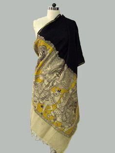 Black - Yellow Chanderi Kalamkari Dupatta