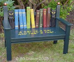 Love cats and books? Here ya go: Cat & Book bench (click to see larger image)