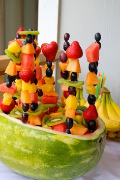 watermelon fruit bowl & fruit kebobs