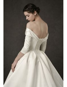 Find junoesque simple ruched off-the-shoulder satin wedding dresses with 3,4 long sleeves, full length wedding dresses, wedding dresses at discount prices One Shoulder Wedding Dress, Off The Shoulder, Death