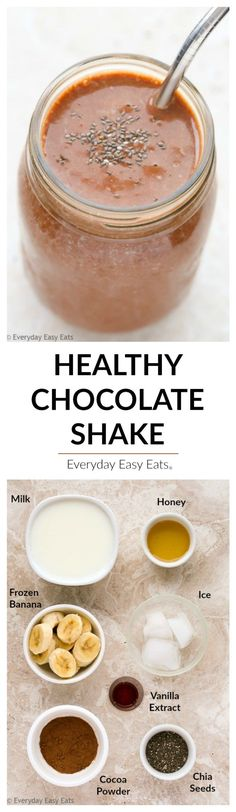 This Healthy Chocolate Shake recipe tastes like a decadent chocolate milkshake, but it is made entirely from nutritious ingredients.