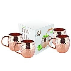 Set of 4 Moscow Mule Mug - Pure Solid Copper Mugs, 16 oz Unlined, No Nickel Interior, Handcrafted Hammered Copper Cups, Free Recipe E Book Copper Cups, Hammered Copper, Brass Handles, Moscow Mule Mugs, Free Food, Make It Simple, 100 Pure, Pure Products, Tableware