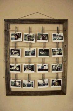 marco viejo madera con fotos. idea para el seating plan