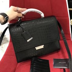 20f3effc99674 Saint Laurent Medium Babylone Top Handle Bag in Crocodile Calf Leather  484504 Black 2018     Real Purse