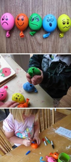 Stress Ball Balloons – balloons filled with playdough, with faces drawn on with … Stressball-Luftballons – Luftballons, die mit Knetmasse. Sensory Activities, Learning Activities, Preschool Activities, Feelings Preschool, Bola Anti-stress, Kids Crafts, Balle Anti Stress, School Play, Pre School