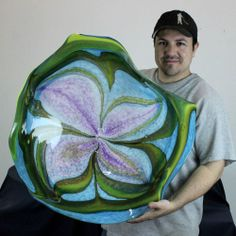 HOLDMAN STUDIOS Hand Blown Art Glass Platter in Purple, Green, Blue, White #3273