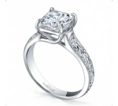Vatche Engagement Rings, X Prong Custom Filigree Princess Diamond Engagement Ring # 116