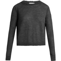 Helmut Lang Raw-edge cashmere sweater (€330) ❤ liked on Polyvore featuring tops, sweaters, dark grey, helmut lang, helmut lang top, slouchy cashmere sweater, wool cashmere sweater and slouchy tops