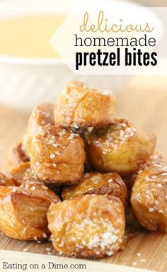 Try these delicious Homemade Pretzel Bites - They are Perfect for any occasion - from football to parties to an after school snack. I think your family will fall in love with them! - Eating on a Dime
